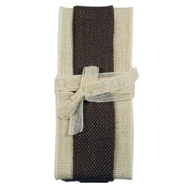 Joy!Crafts Jute Ribbon ivory-brown-ivory