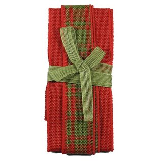 Joy!Crafts Jute Ribbon red-red/green tartan-green