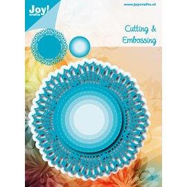 Snij-embosstencil - Blauw Kantrand Cirkel