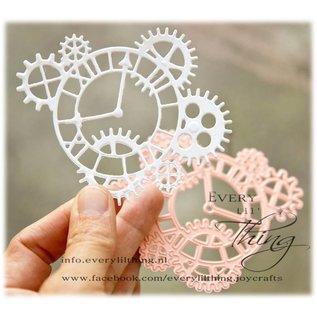 Joy!Crafts Snij-embosstencil - Tandwielen &  klok
