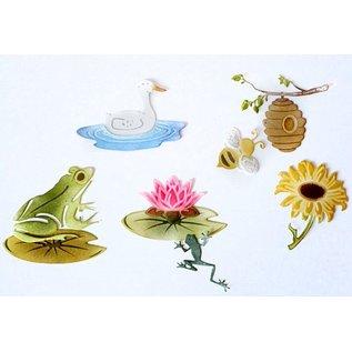 Joy!Crafts Snij-embos-debosstencil - Eend & Waterlelie