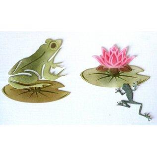 Joy!Crafts Snij-embos-debosstencil - Kikkers & waterlelieblad