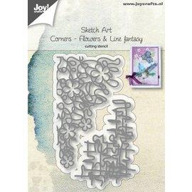 Joy!Crafts Snijstencils - Sketch Art - Hoek-bloemen en -lijnfantasie