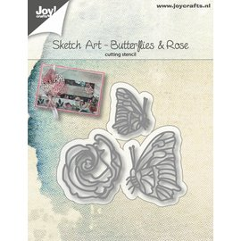 Joy!Crafts Snijstencils - Sketch Art - Vlinders en roos