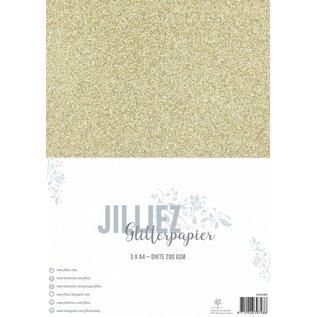 Jilliez Jilliez Papierset A4 glitter 3 vel Goud