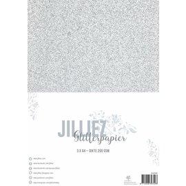 Jilliez Jilliez Papierset A4 glitter 3 vel Zilver
