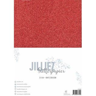 Jilliez Jilliez Papierset A4 glitter 3 vel Rood