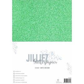 Jilliez Jilliez Papierset A4 glitter 3 vel Donker Groen