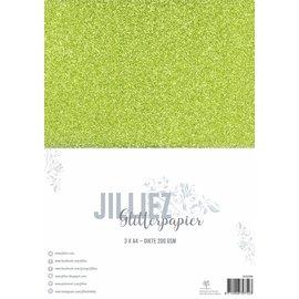 Jilliez Jilliez Papierset A4 glitter 3 vel Groen