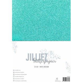 Jilliez Jilliez Papierset A4 glitter 3 vel Zeegroen