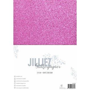 Jilliez Jilliez Papierset A4 glitter 3 vel Fuchsia