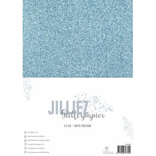 Jilliez Jilliez Papierset A4 glitter 3 vel IJsblauw
