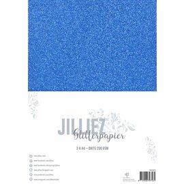 Jilliez Jilliez Papierset A4 glitter 3 vel Blauw