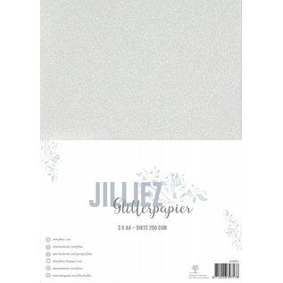 Jilliez Jilliez Papierset A4 glitter 3 vel Parelmour