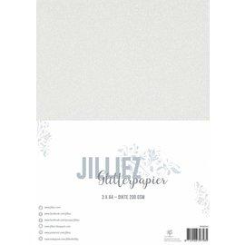 Jilliez Jilliez Papierset A4 glitter 3 vel Wit