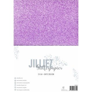 Jilliez Jilliez Papierset A4 glitter 3 vel Rose