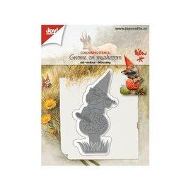 Joy!Crafts Snij-embos-debosstencil - Kabouter op paddenstoel