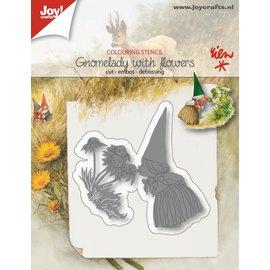 Joy!Crafts Snij-embos-debosstencil - Kaboutervrouw met bloemen