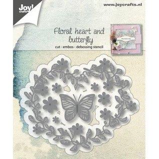 Joy!Crafts Snij-embos-debosstencil - Bloemenhart en vlinder