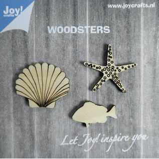 Joy!Crafts Woodsters - Houten figuren - Zeester- schelp- vis