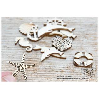 Joy!Crafts Woodsters - Houten figuren - Zeepaard- koraal- groot vis