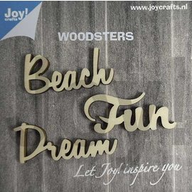 Joy!Crafts Woodsters - Woorden hout: Dream - Beach - Fun