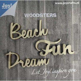 Joy!Crafts Woodsters - Woorden hout: Dream - Beach - Fun