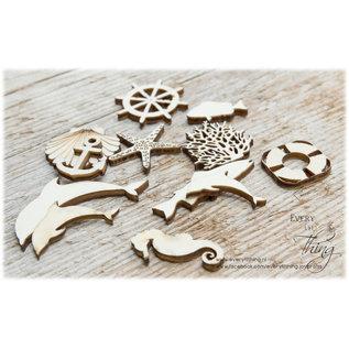 Joy!Crafts Woodsters - Figuren hout: anker - reddingsboei - stuurwiel