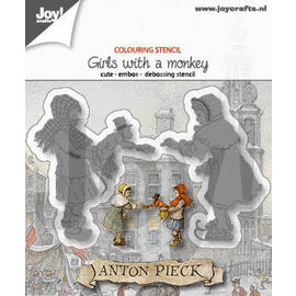 Joy!Crafts Cut-emboss-debossdie - Anton Pieck- Meisjes with monkey