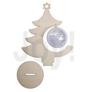 Joy!Crafts Houten kerstboom met tansparante bal 8 cm