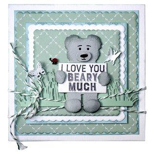Joy!Crafts Snij-embos-debosstencil- Teddybeer met notitiebord