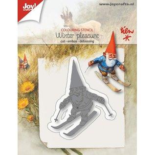 Joy!Crafts Snij-embosstencil - R. Poortvliet - Kabouter op skies
