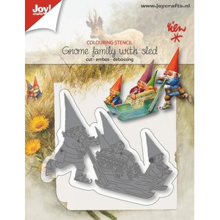 Joy!Crafts Snij-emb-debosstencil - R. Poortvliet- kaboutersfamilie op slee