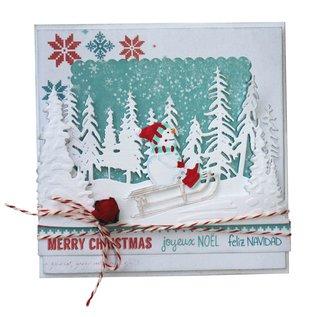 Joy!Crafts Snij-emboss-debosstencil - Sneeuwpop op slee