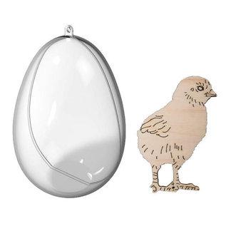 Joy!Crafts Transparante eieren met kuiken en haas
