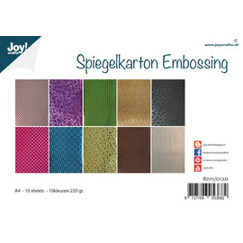 Joy!Crafts Spiegelkarton Embossing - 10 designs - 10 kleuren