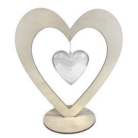 Joy!Crafts Houten hart open met transparant hartje