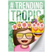 Emoji Girls A4 lijntjes schrift - tropic