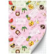 Emoji Girls A4 ruitjes schrift - tropic