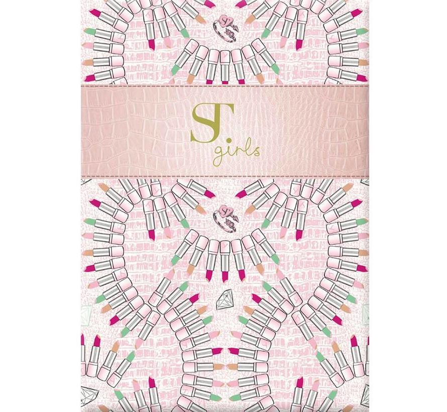 A4 schrift geruit roze