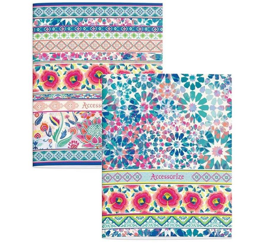 A5 lijntjes schriften - flowers