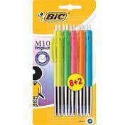 Bic M10 gekleurde balpen - assortiment 8+2