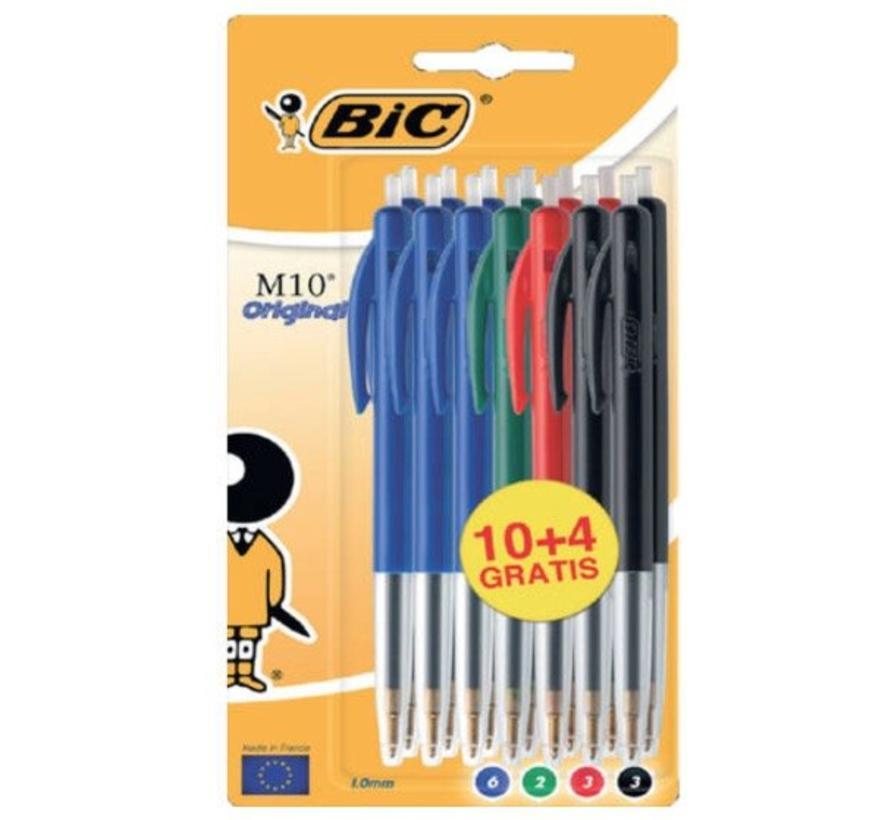 Bic M10 balpennen set - kleur 10+4