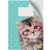 Studio Pets A4 lijntjes schrift - roze bril