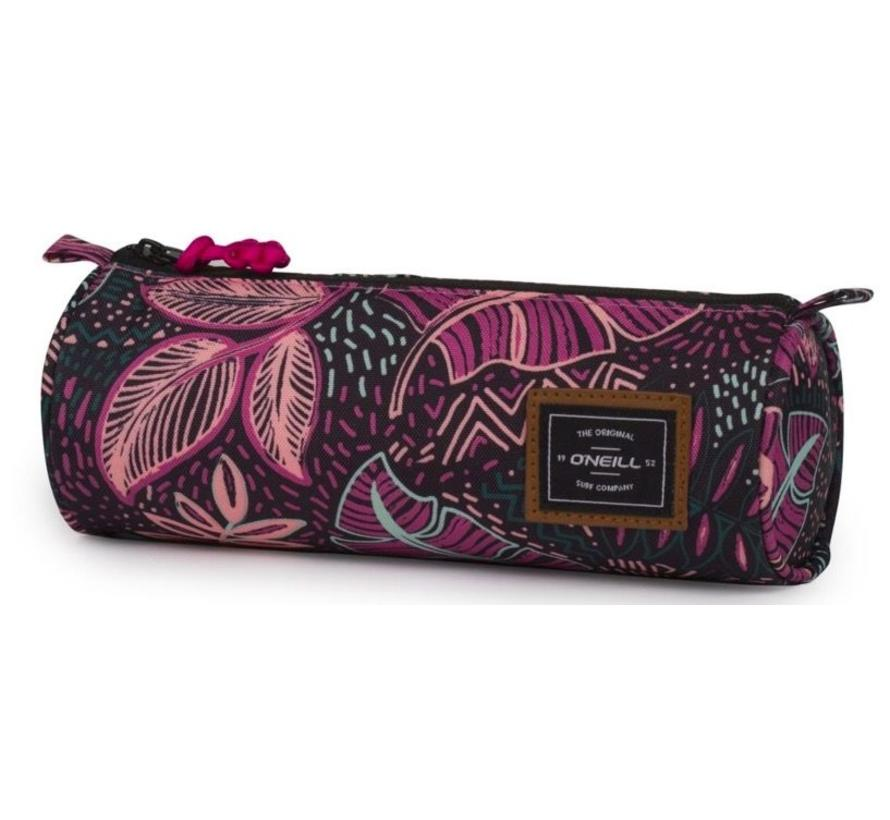 Girls rond etui - leaves black/pink