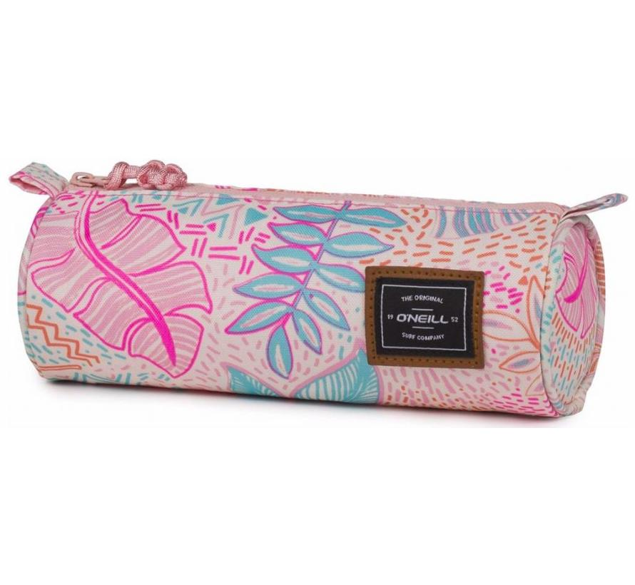 Girls rond etui - leaves pink