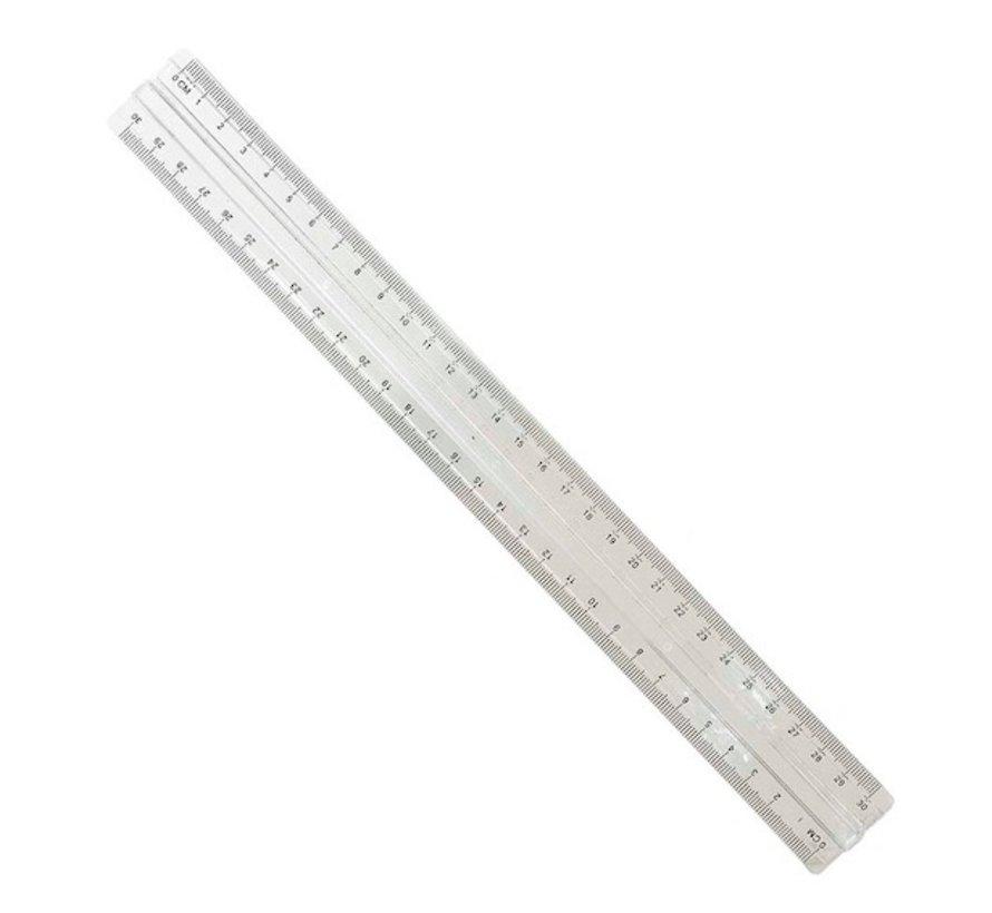 Budget liniaal met handgreep - 30cm