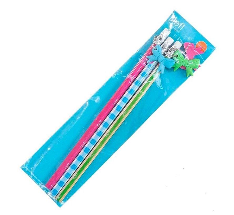 3 Potloden met gum