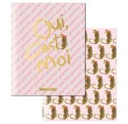 Little Diva A5 schriften gelinieerd roze/goud