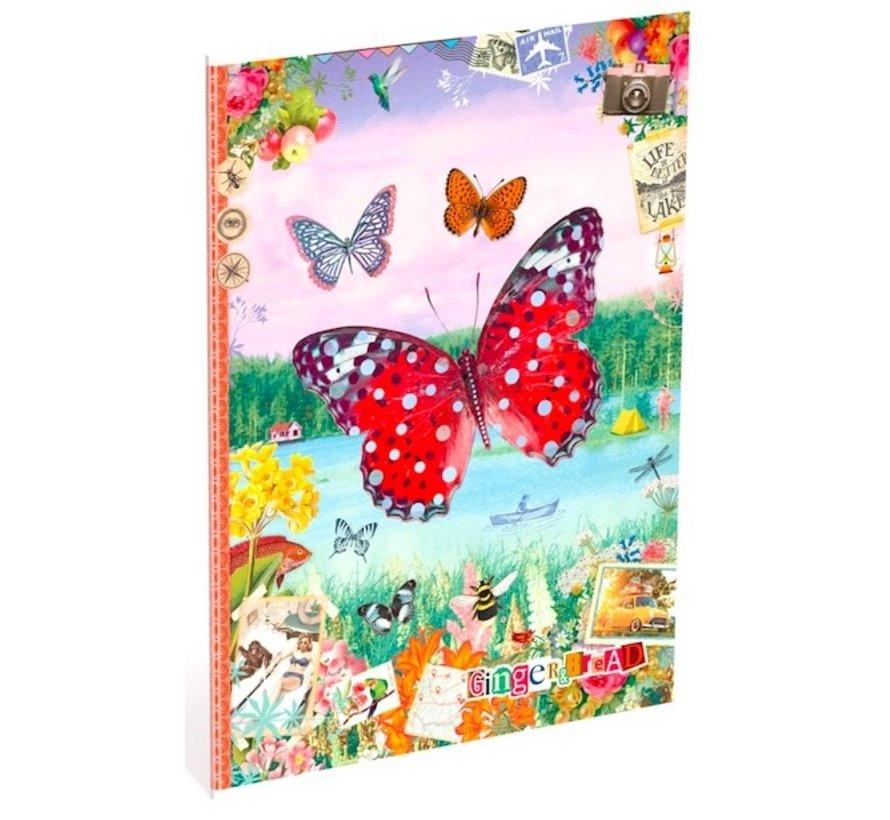 A4 schrift gelinieerd - vlinder